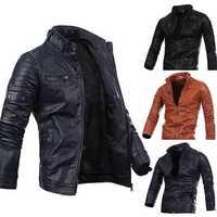 Mens Fashion Black Stitching Collar Button Motorcycle PU Leather Jacket