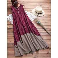 Sleeveless Patchwork Print Vintage Dress