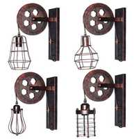 E27 Vintage Industrial Wall Lamp Pulley Light Indoor Sconce Fixture Decoration