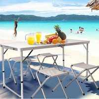 4FT Aluminum Portable Camp Table Adjustable Trestle Folding Pinic Table
