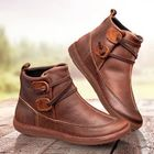 Meilleurs prix Womens Classic Stitching Slip On Solid Color Slip Resistant Winter Ankle Boots