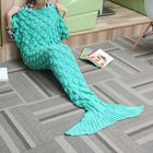 Offres Flash 180x90 Yarn Knitting Mermaid Tail Blanket Wave Stripe Warm Bed Mat Super Soft Sleep Bag