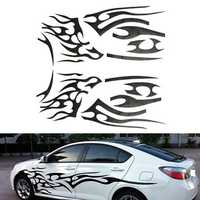 2Pcs Black Vinyl Graphics Car Decals Sticker Flame Pattern Auto Body Decoration Universal