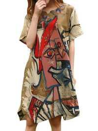 Elegant Women Colorful Printed Short Sleeve Mini Dress