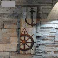 Nautical Decor Rustic Wood Sign Plaque Wall Art Picture Lighthouse Design Anchor