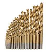 19pcs HSS Titanium Coated Twist Drill Bit Set 1-10mm Straight Shank Twist Drill Bit