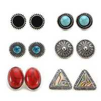 6 Pairs of Turquoise Triangle Shell Ellipse Ear Stud Alloy Earrings Set