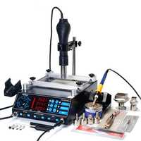 YIHUA 853AAA 220V 3 In 1 Preheating Station Infrared BGA Rework Soldering Station Hot Air Heater 60W Tin Soldering Iron