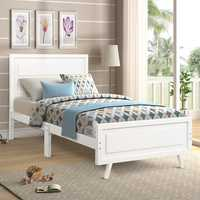 Wood Platform Bed Twin Bed Frame Mattress Foundation with Headboard and Wood Slat Support Single Bed