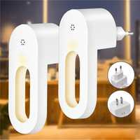 2pcs LED Light Sensor Night Lamp Socket Wall Plug-in Child bedroom Hallway AC100-240V