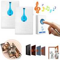 Twin Wireless Door Bell Cordless 32 Melodies 100M Range Digital Chime Home Office Doorbell