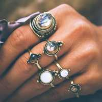 6 Pcs Vintage Knuckle Ring Set Cobblestone Geometric Finger