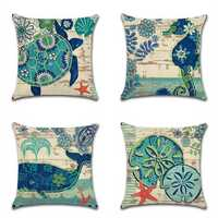 European Style Retro Linen Cotton Pillow Cover Marine Biological Pillow Case Home Furnishing Mediterranean Cushion Cover