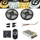 Bon prix 2PCS 5M SMD5050 Waterproof LED Strip Light RF Touch Dimmer+10A Power Adapter Kit DC12V