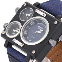 OULM 3595 Men Watch Fashion Three Time Zones Alloy Case Textile Watch Band Quartz Watch