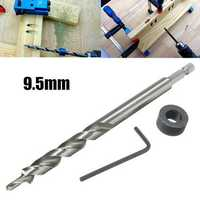 9.5mm Twist Step Drill Bit With Depth Stop Collar for Pocket Hole Jig Kit