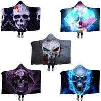 Hooded Blankets Flannel 3D Printed Galaxy Microfiber Wearable Thickened Blankets for Adults Kids