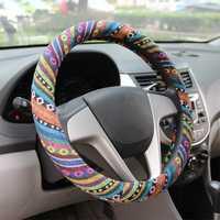 15″/38cm Universal Car Steel Ring Wheel Cover Natural Fiber Wrap Colorful Non-slip
