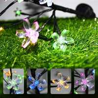 Solar Powered Cherry Blossom Tree Branch Outdoor Waterproof LED String Holiday Light for Patio Decor