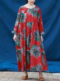 S-5XL Casual Women Leaves Printed Long Maxi Dress