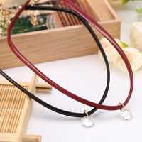 Leather Collar Short Necklace Zircon Clavicle Cord Necklaces