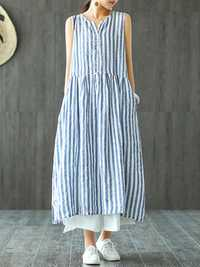 Women Sleeveless Striped V-neck Sundress Retro Maxi Dress