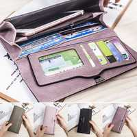 Multifunctional Women Leather Soft Wallet Purse Phone Cover with Card Holder for iPhone Samsung