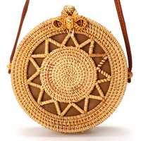 Women's Beach Handwoven Round Rattan Bag Straw Pattern Handbags Crossbody Tote