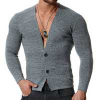 Men's Casual Cotton Sexy Deep V-Neck Elastic Sweaters