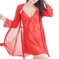 Sexy Lace Harness Nightdress Sleepwear Three-piece Suit