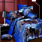 Meilleurs prix 4pcs Suit 3D Snowfield Wolf Reactive Dyeing Polyester Fiber Bedding Sets Queen Size