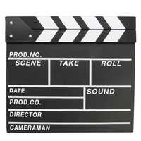 Clapperboard TV Film Movie Clapper Board Handmade Colorful Erase Director Cut Photography Prop Black