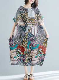 Bohemian Loose Art Print Side Pockets Short Sleeve Dress
