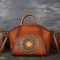 Women Genuine Leather Vintage Totem Designer Handbag