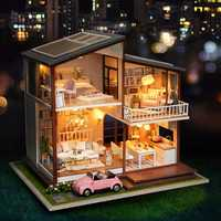 Cuteroom DIY Doll House A-080-B Slow Time Loft Villa Miniature Furnish With LED Light Music Movement Cover Gift Decor Toys