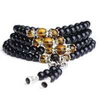 108Pcs Unisex 6mm Black Glaze Artificial Obsidian Buddhist Prayer Beads Bracelet Jewelry