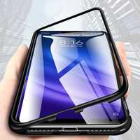 Bakeey 360° Magnetic Adsorption Metal Tempered Glass Flip Protective Case for Xiaomi Mi 8 Lite