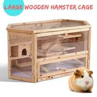 3-Tier Wooden Hamster Cage House Rodent Mouse Pet Small Animal Wood Layers Kit