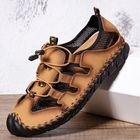 Meilleurs prix Menico Men Leather Mesh Splicing Non Slip Casual Hand Stitching Sandals
