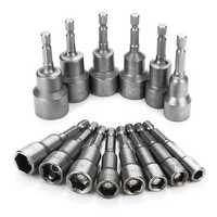 14pcs 6-19mm 1/4 Inch Hex Shank Socket Magnetic Nut Driver Set Drill Bit Adapter