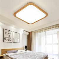 12W 1000LM LED Ceiling Light Wood Square Flush Mount Fixture Lamp for Kitchen Bedroom 110V-240V
