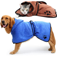 Dog Bathrobe Warm Dog Clothes Absorbent Pet Drying Towel Embroidery Paw Cat Hood Pet Bath Towel