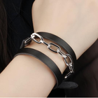 Discount pas cher Black Leather Stainless Steel Bracelet Chain Gift For Men Jewelry