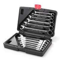 12pc Metric Ratcheting Spanner Combination Wrenche Hand Tools 9mm-18mm CR-V Steel
