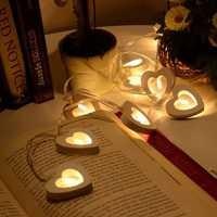 10 LED Battery Wooden Heart Shape String Lights For Christmas Decoration White Christmas Light