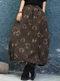 Women Vintage Feather Print Elastic Waist Winter Skirts