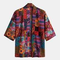 Mens Summer Ethnic Kimono Cotton Cardigans