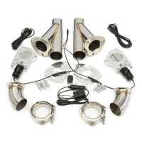 2.5 Inch 6.3mm Dual Electric Exhaust Cutout Pipe Kit with Remote Control Stainless Steel Cutout Muffler Valve System