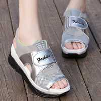 Mesh Hook Loop Platform Sandals For Women