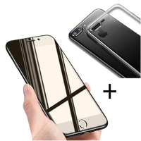 Bakeey™ 4D Curved Edge Tempered Glass Film With Transparent TPU Case for iPhone 8Plus